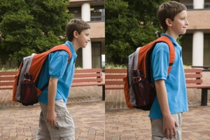 On the left we see a poorly fitted backpack and with some modifications on the right, there is improved posture and less stress.